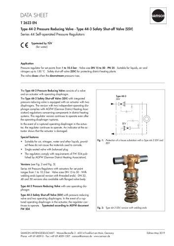 Type 44-2 Pressure Reducing Valve · Type 44-3 Safety Shut-off Valve (SSV)