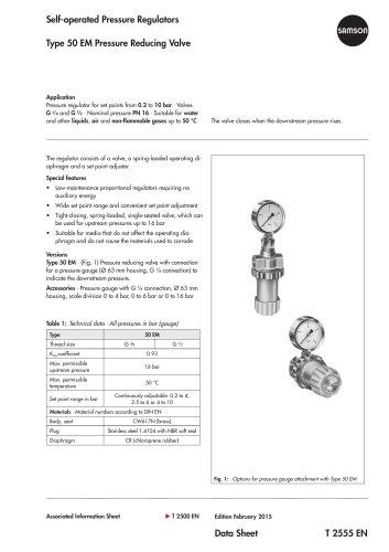 Type 50 EM Pressure Reducing Valve