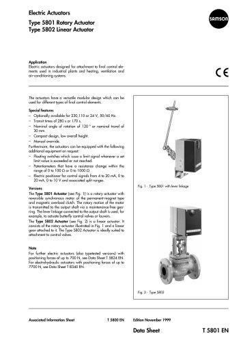 Type 5801 Rotary Actuator Type 5802 Linear Actuator