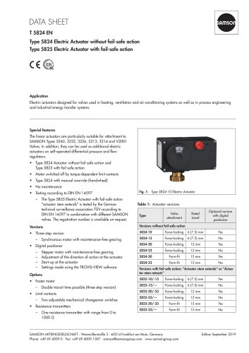 Type 5824 Electric Actuator without fail-safe action