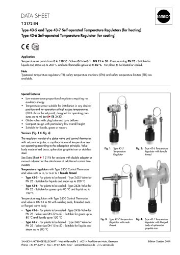 ype 43-5 and Type 43-7 Self-operated Temperature Regulators (for heating)