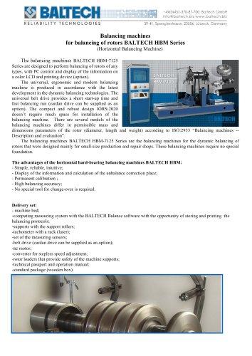 Balancing machines for balancing of rotors BALTECH HBM-7125