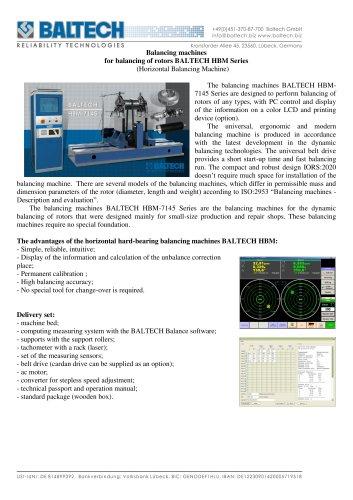 Balancing machines for balancing of rotors BALTECH HBM-7145