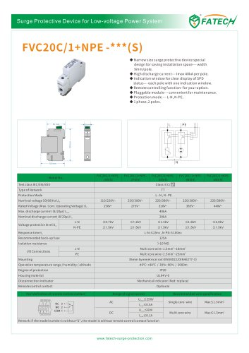 FATECH 2 poles surge arrester FVC20C/1+NPE-275S with New construction
