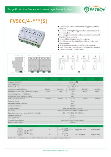 FATECH 50kA surge protector FV50C/4-385 for AC 3 PHASE power system