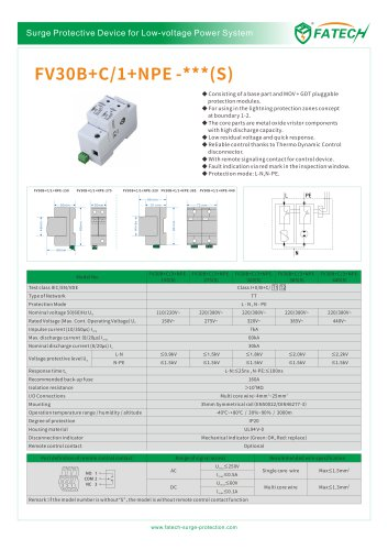 FATECH 60kA surge arrester FV30B+C/1+NPE-275 for AC power system