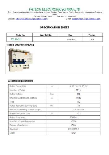 FATECH circuit breaker FTL20-32 for ac circuit