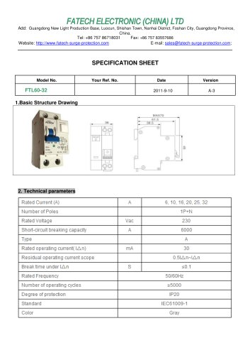 FATECH circuit breaker FTL60-32 for ac circuit