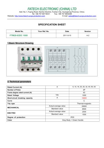 FATECH circuit breaker FTM20-63DC 10KA for dc circuit