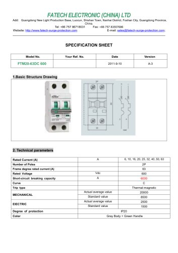FATECH circuit breaker FTM20-63DC 6KA for 600V dc circuit