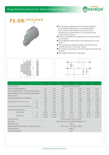 FATECH Data surge arrester 5Vdc DIN rail FS-DR-5/1.6 are applied to control signal double wire circuit in LPZ0 to LPZ3, e.g. 4~20mA circuit