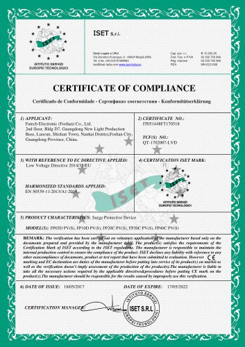 FATECH FSP brand FP series CE certificate for dc spd