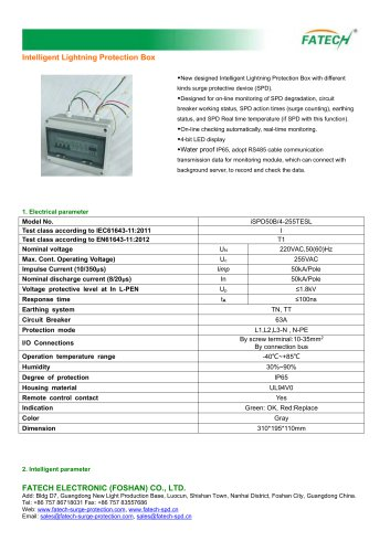 FATECH intelligent 3 phase type 1 surge arrester box type iSPD50B/4-255TESL