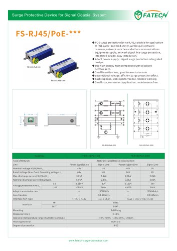 FATECH POE surge protector device FS-RJ45/POE-100 with Aluminum alloy shell, RJ45 interface, 100M.