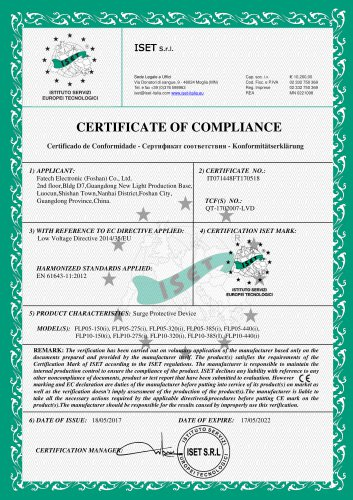 FATECH surge arrester CE certificate for LED spd