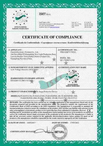 FATECH surge arrester CE certificate for signal spd