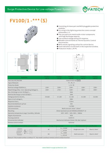 FATECH surge arrester FV10D/1-150 for class 3 power supply protection