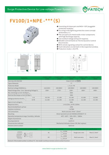 FATECH surge arrester FV10D/1+NPE-275 for single phase power protection