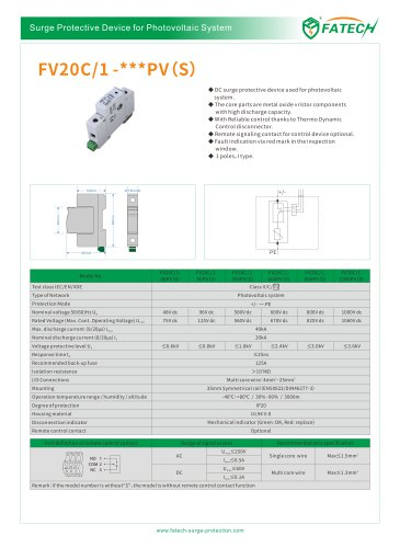 FATECH surge arrester FV20C/1-100PV for DC solar protection