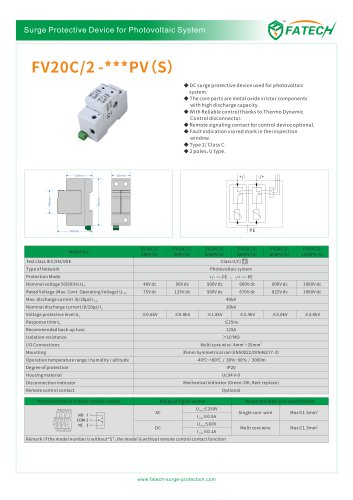 FATECH surge arrester FV20C/2-xxx PV S for DC photovoltaic system