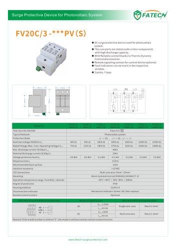 FATECH surge arrester FV20C/3-500PV for dc PV system