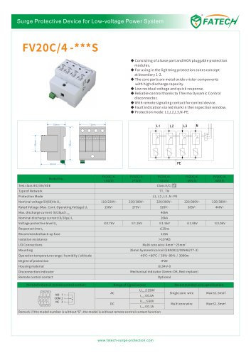 FATECH surge arrester FV20C/4-320 for ac spd protection