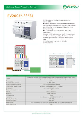 FATECH surge arrester FV20C/x-xxxSI for on-line monitoring of SPD degradation, circuit breaker working status, SPD action times (surge counting)