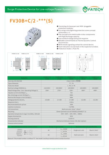 FATECH surge arrester FV30B+C/2-275 for ac power protection