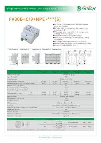 FATECH surge arrester FV30B+C/3+NPE-440 for 3 phase ac protection