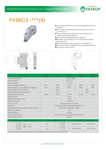 FATECH surge arrester FV30C/1-150S for 60ka power protection