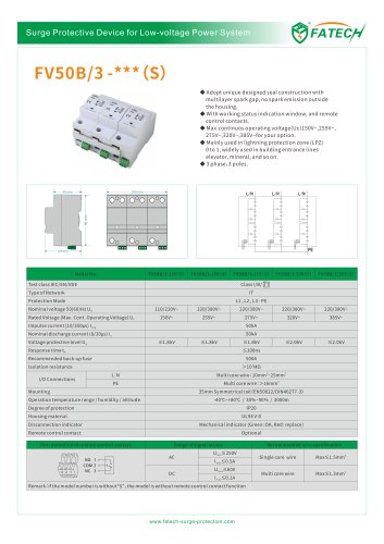 FATECH surge arrester FV50B/3-275 for Iimp50ka AC power protection