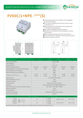 FATECH surge arrester FV50C/1+NPE-275 for ac 1 phase power