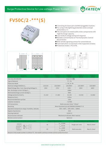 FATECH surge arrester FV50C/2-385 for 50KA ac power protection