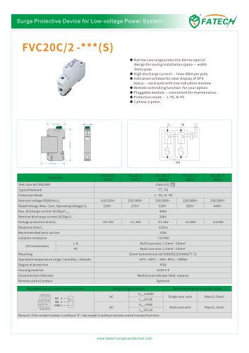 FATECH surge protective device FVC20C/2-275 with New 9mm/pole 40kA