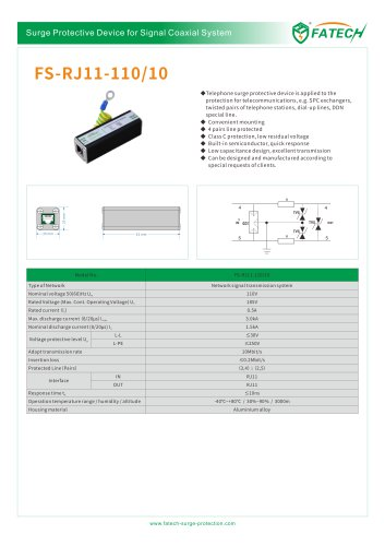 FATECH surge protector FS-RJ11-110/10 for telephone line protection