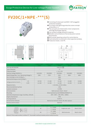 FATECH surge protector FV20C/1+NPE-275 for Single phase ac power supply system