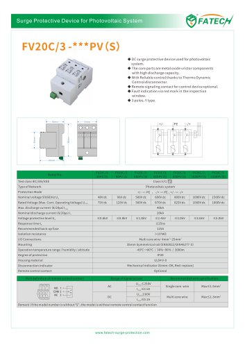 FATECH surge protector FV20C/3-xxx PV S for DC photovoltaic system