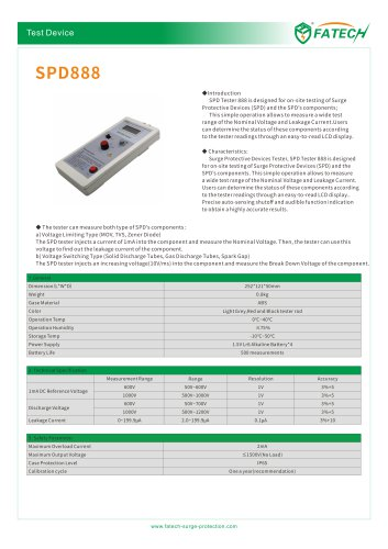 FATECH Tset device SPD888 for testing of Surge Protective Devices (SPD) and the SPD's components