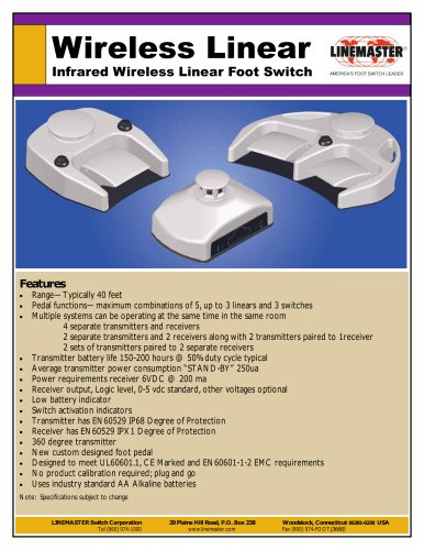 IR Wireless Linear Foot Switch