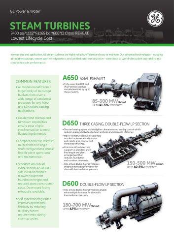 STEAM TURBINES A650 / D650 / D600