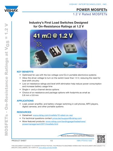 Industry?s First Load Switches Designed for On-Resistance Ratings at 1.2 V