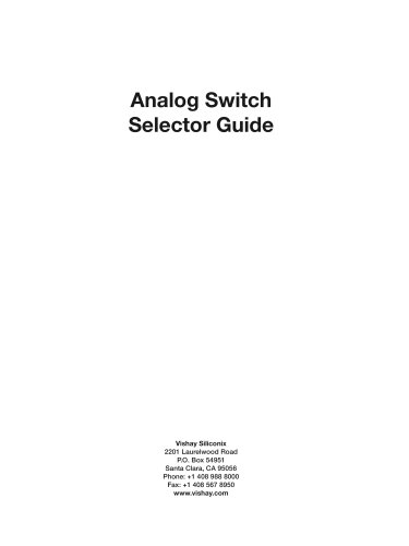 Low Voltage Analog Switch Selector Guide