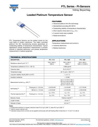 PTL Series - Pt-Sensors RESISTORS, NON-LINEAR - PLATINUM SENSORS-RTD