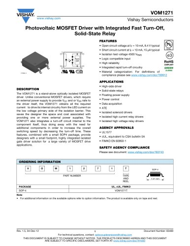 VOM1271 SOLID-STATE RELAYS