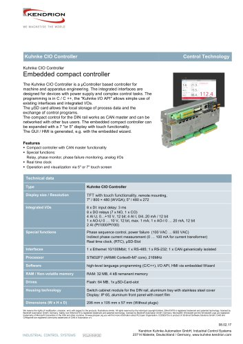 Kuhnke Cio Controller Kendrion Industrial Control Systems Pdf Catalogs Technical Documentation Brochure