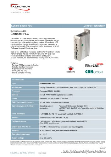 Kuhnke Econo 206 Kendrion Industrial Control Systems Pdf Catalogs Technical Documentation Brochure