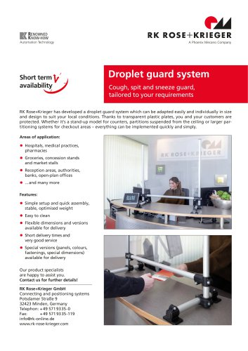 Sneeze guard / droplet guard