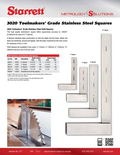 3020 TOOLMAKERS STAINLESS STEEL SQUARES