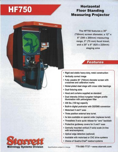 HF750 Horizontal  Floor Standing  Measuring Projector