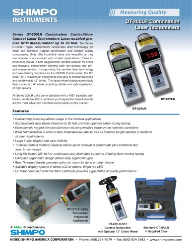 DT-207LR Non-Contact/Contact Laser Tachometers